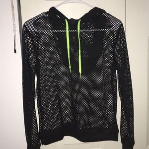 Black fishnet hoodie with green string